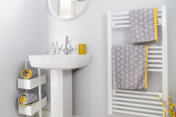 Refresh yourself in the bathroom with a walk-in double shower.
