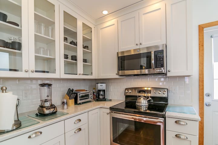 Stainless steel new appliances. Full service kitchen for eating, cooking and baking. Washer and dryer. Dishwasher. Coffee maker.