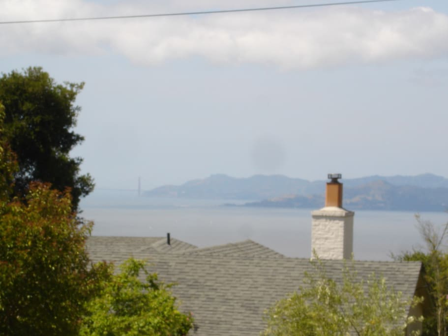 View on Bay and Golden Gate on a foggy morning