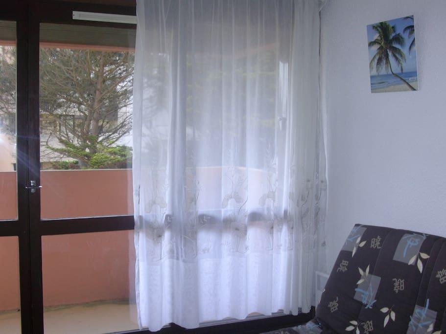 Clic clac 2 couchages dans séjour avec balcon