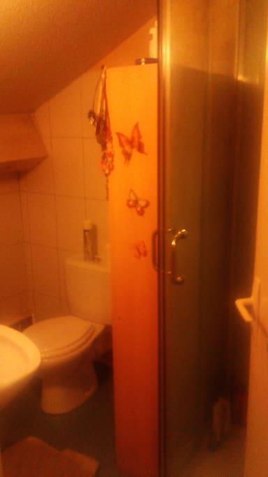Salle de bain (douche, WC, lavabo, douche et machine à laver )