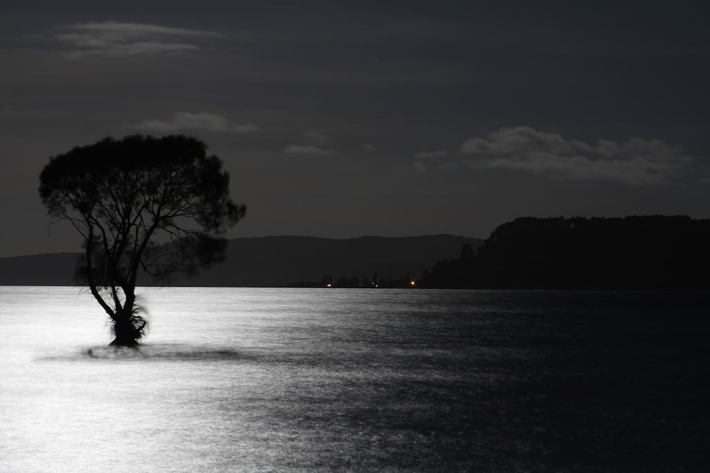 Our beautiful Lake Taupo at Dusk.  Only a two minute walk to see this for yourself.