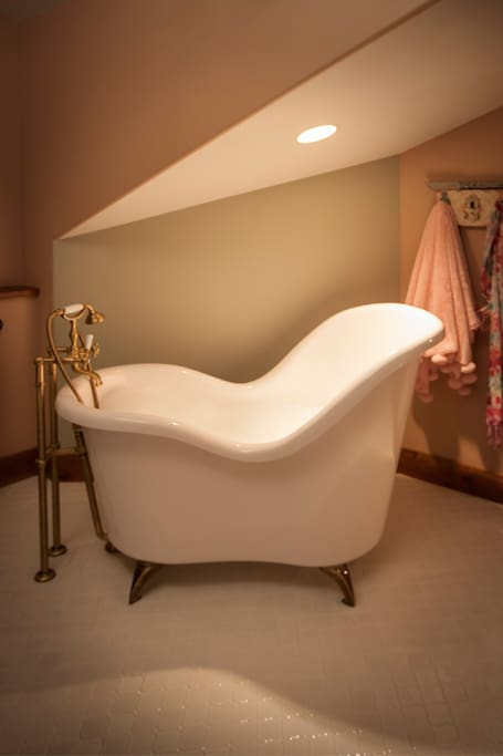 This unique soaking tub is located in the Darling Suite.