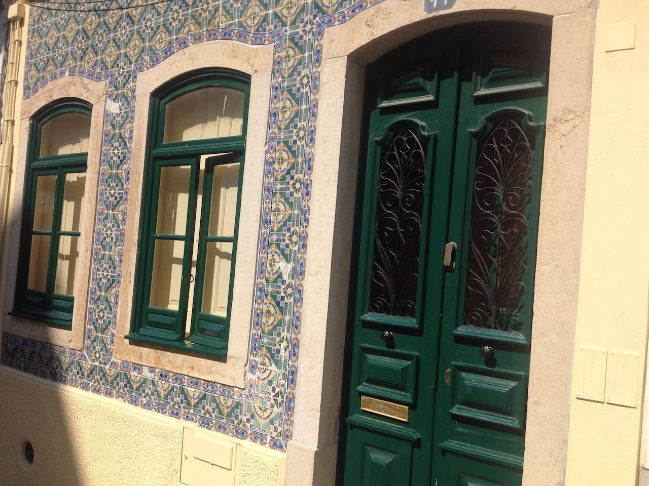 Frontage of traditional Portuguese town house within the historic city walls of Lagos.