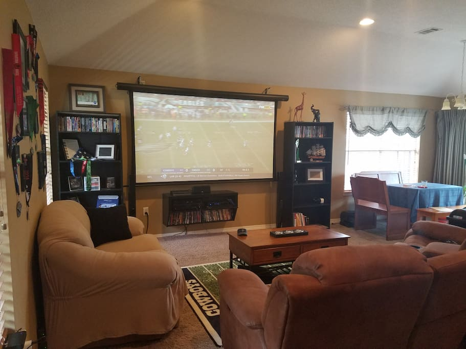 """109"""" Projector Screen w/ DirectTV, PS4, BlueRay/DVD, and casting device"""