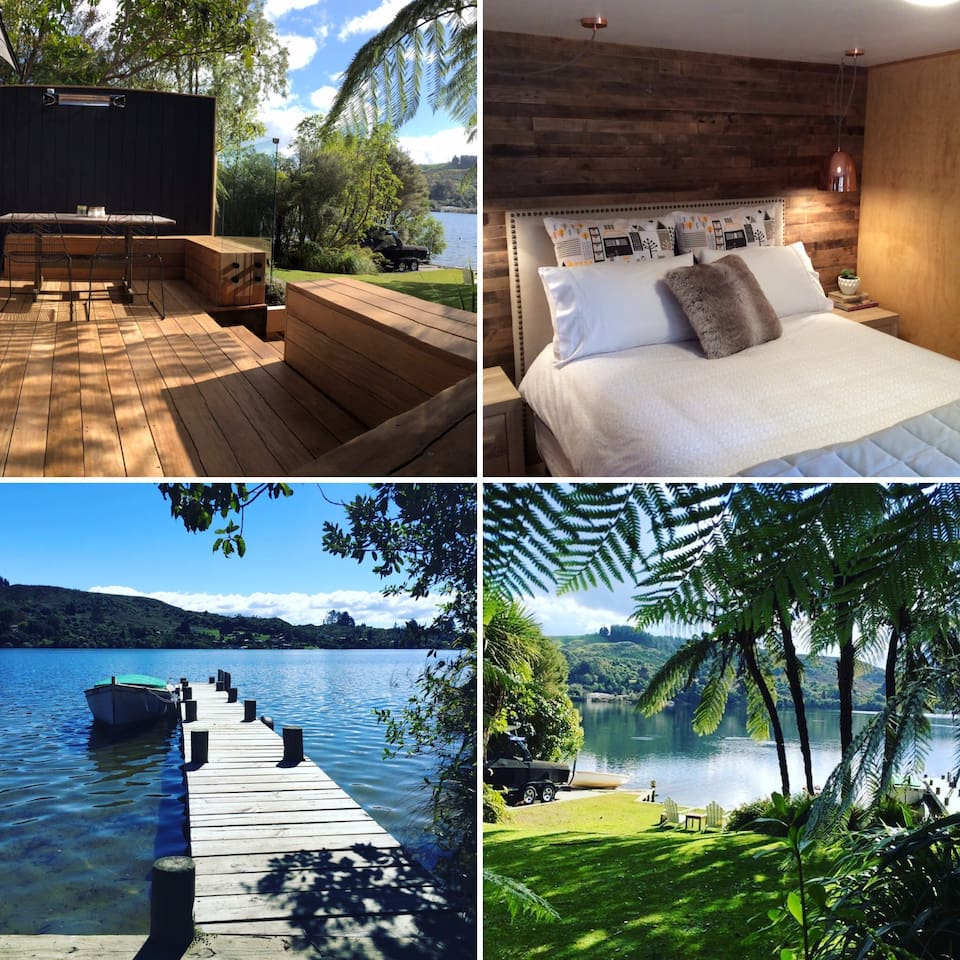 Ultimate waterfront with jetty access. Arguably the most romantic spot on Lake Rotoiti. Privately nestled in native bush, with views over the Okere Falls inlet. Relax in our gorgeous Scandinavian inspired interior for your next romantic escape.