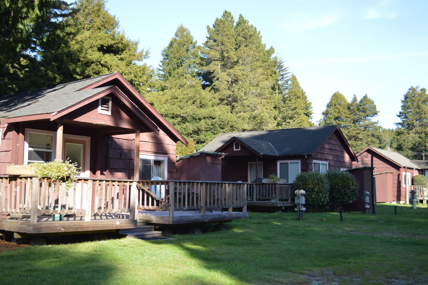 Sylvan Harbor's three humble cabins, with Cabin #1 in the foreground.