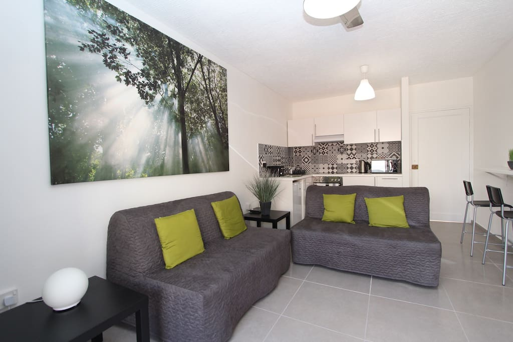 Living room and kitchen with 2 double sofa beds