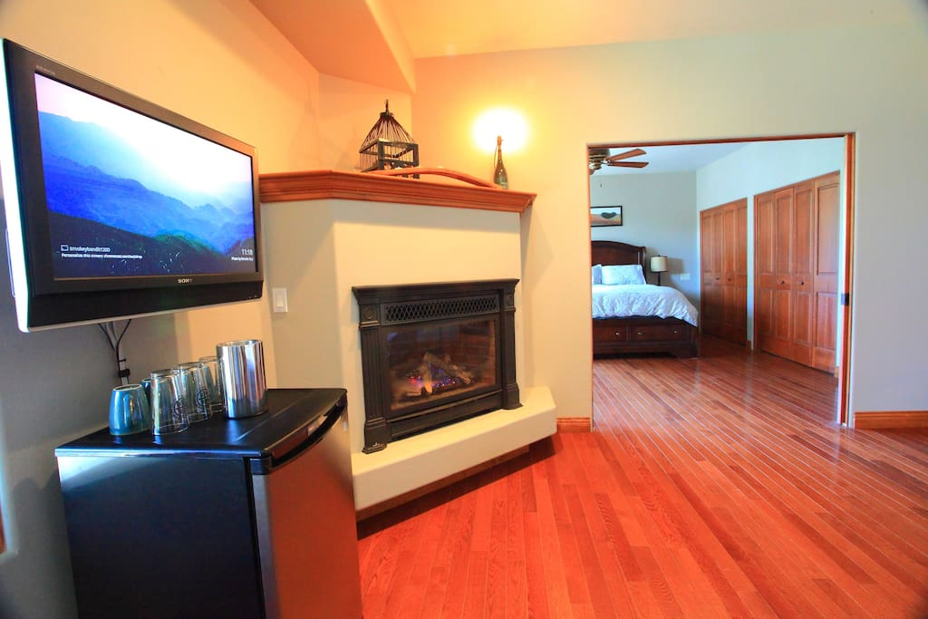 Turn on the gas fireplace with a flip of a switch. Flat screen T.V. with streaming capabilities.