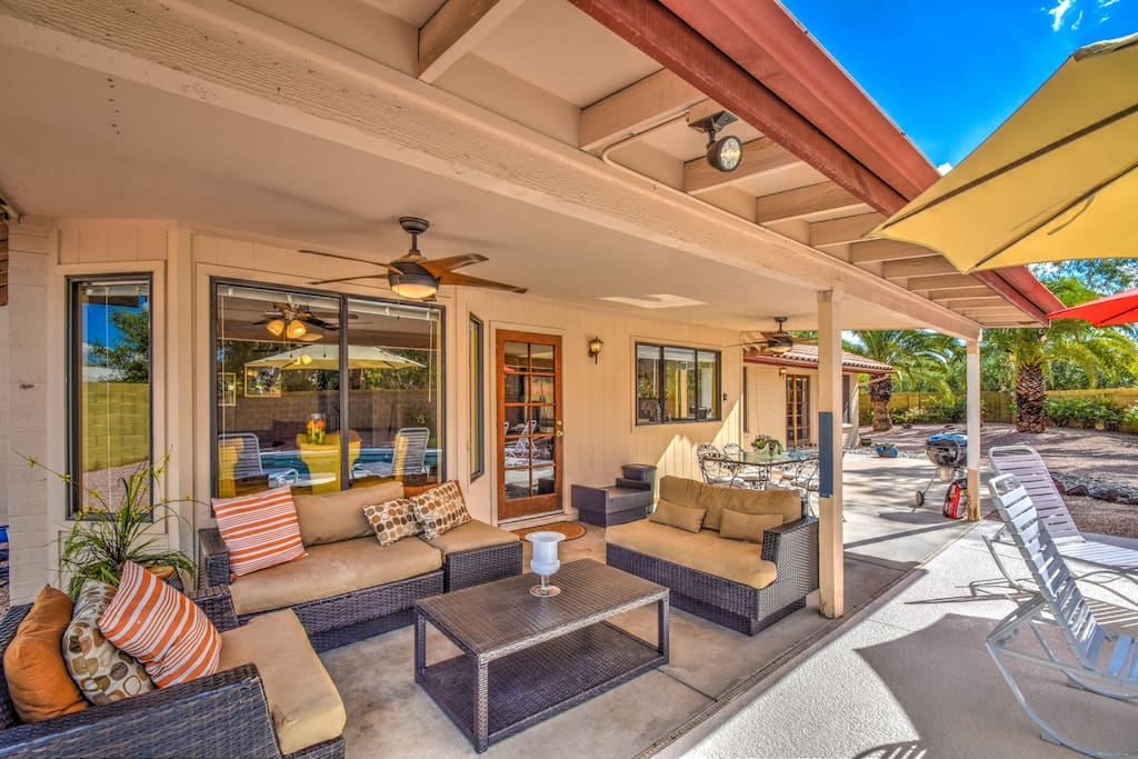 Entertaining Patio With Charcoal BBQ Grill