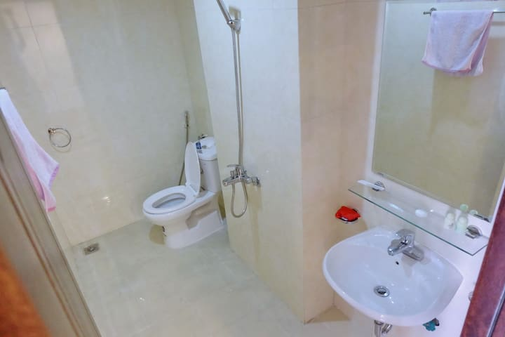 Toilet and a shower