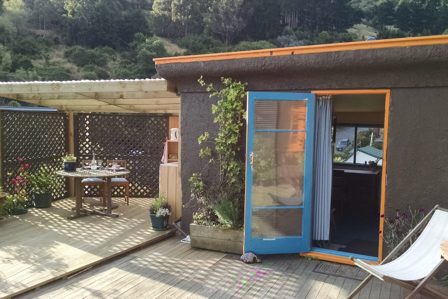 self contained cabin with harbour views