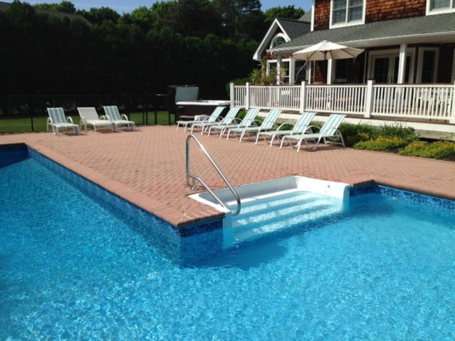18 lounge chairs total 20x40  L pool with slide diving board. 12x32 shallow end with steps
