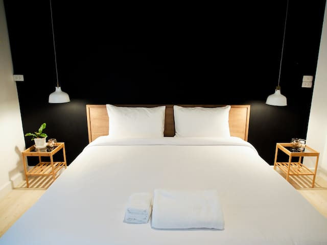 Warm room White & Black design, Free breakfast.