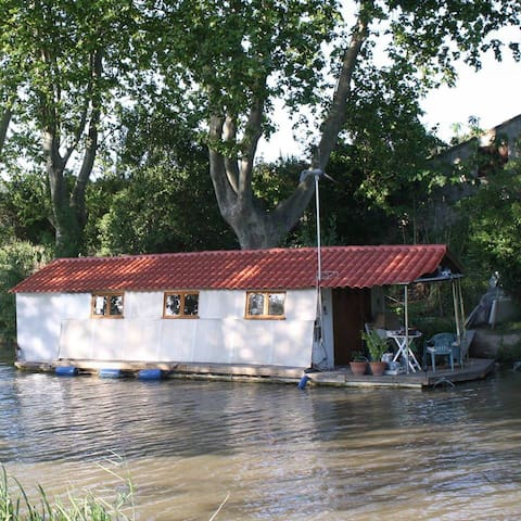 Houseboat Artis  with terrace , on Canal du Midi