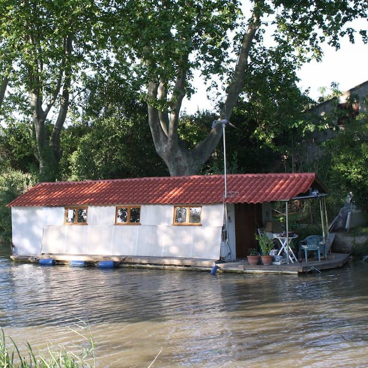 Houseboat Artis  with terrace,  on Canal du Midi