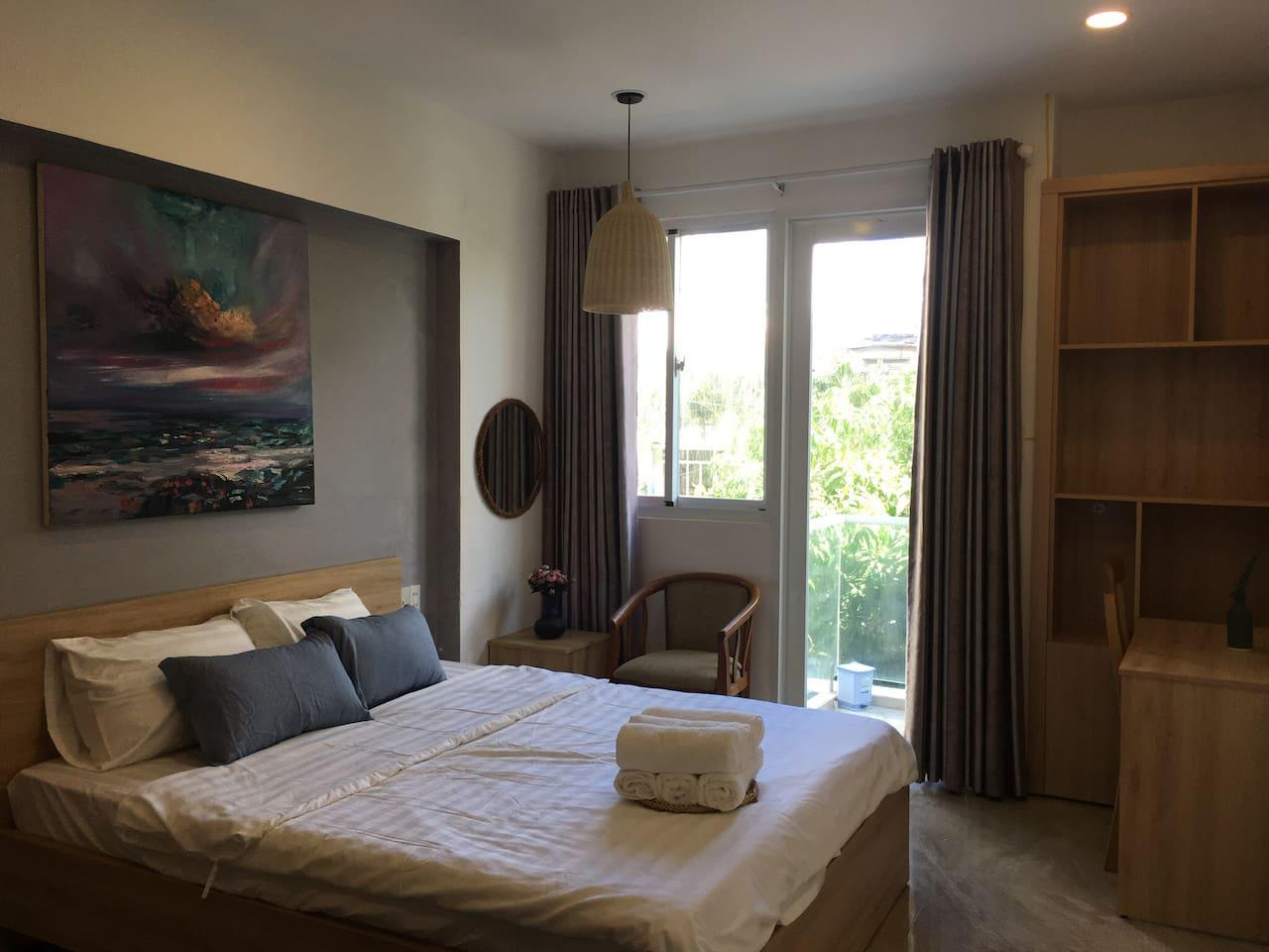 Big bedroom with balcony