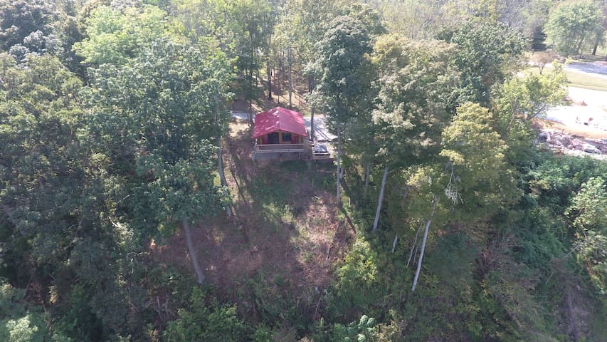 A drone's eye-view of the Hawk's Nest atop the bluff.