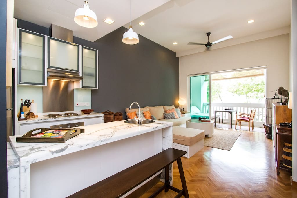 Open layout kitchen and living room