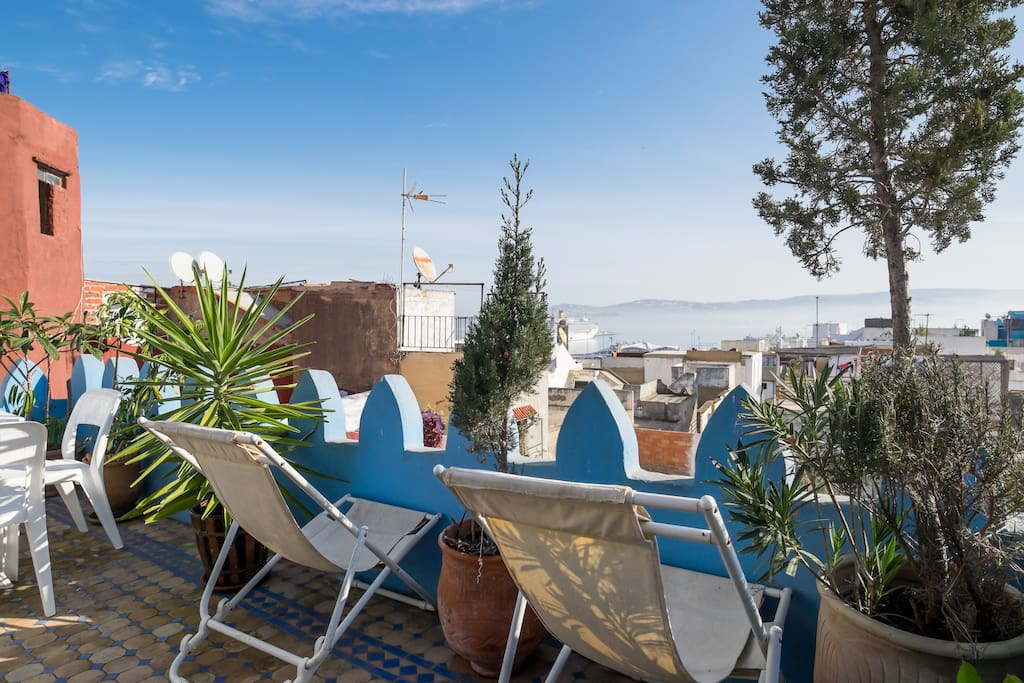 Roof terrace overlooking city of Tangiers and port