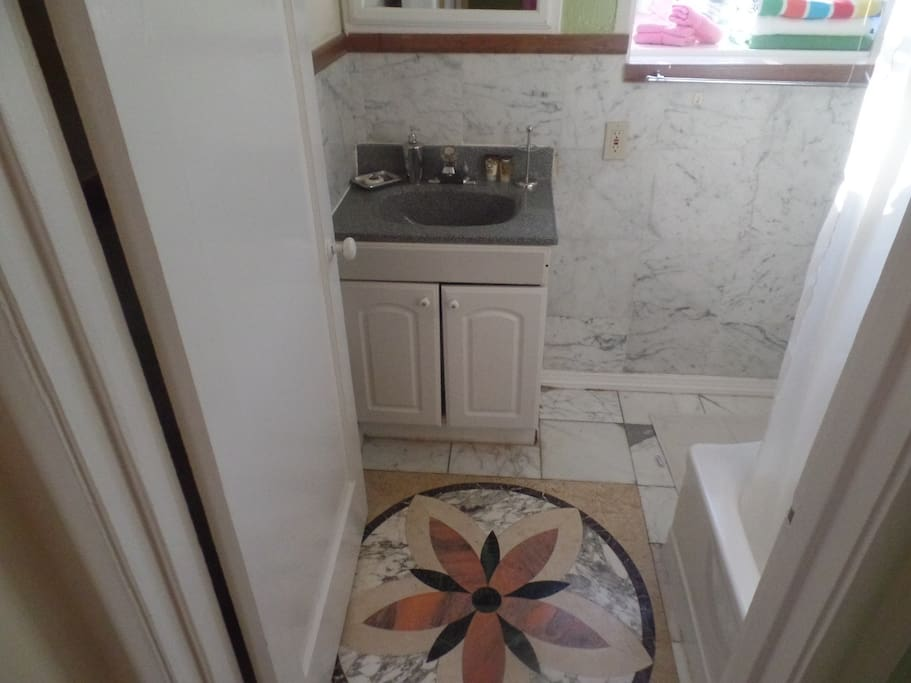Medallion floor insert in bathroom.