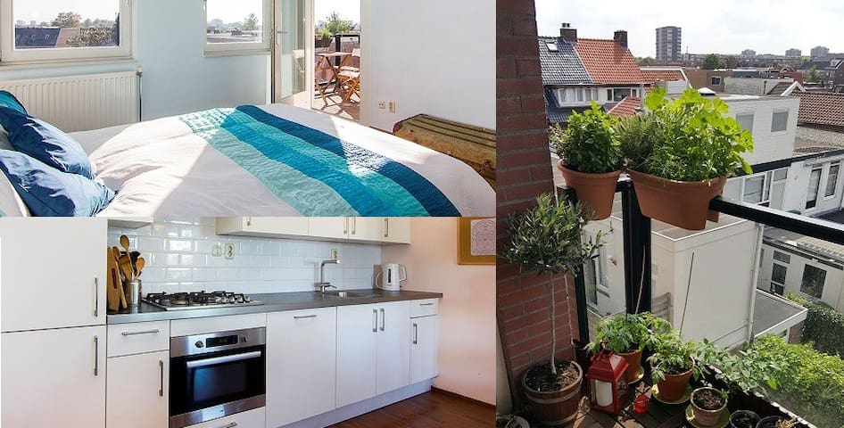 ROOM with BALCONY - ABOVE the rooftops of HAARLEM