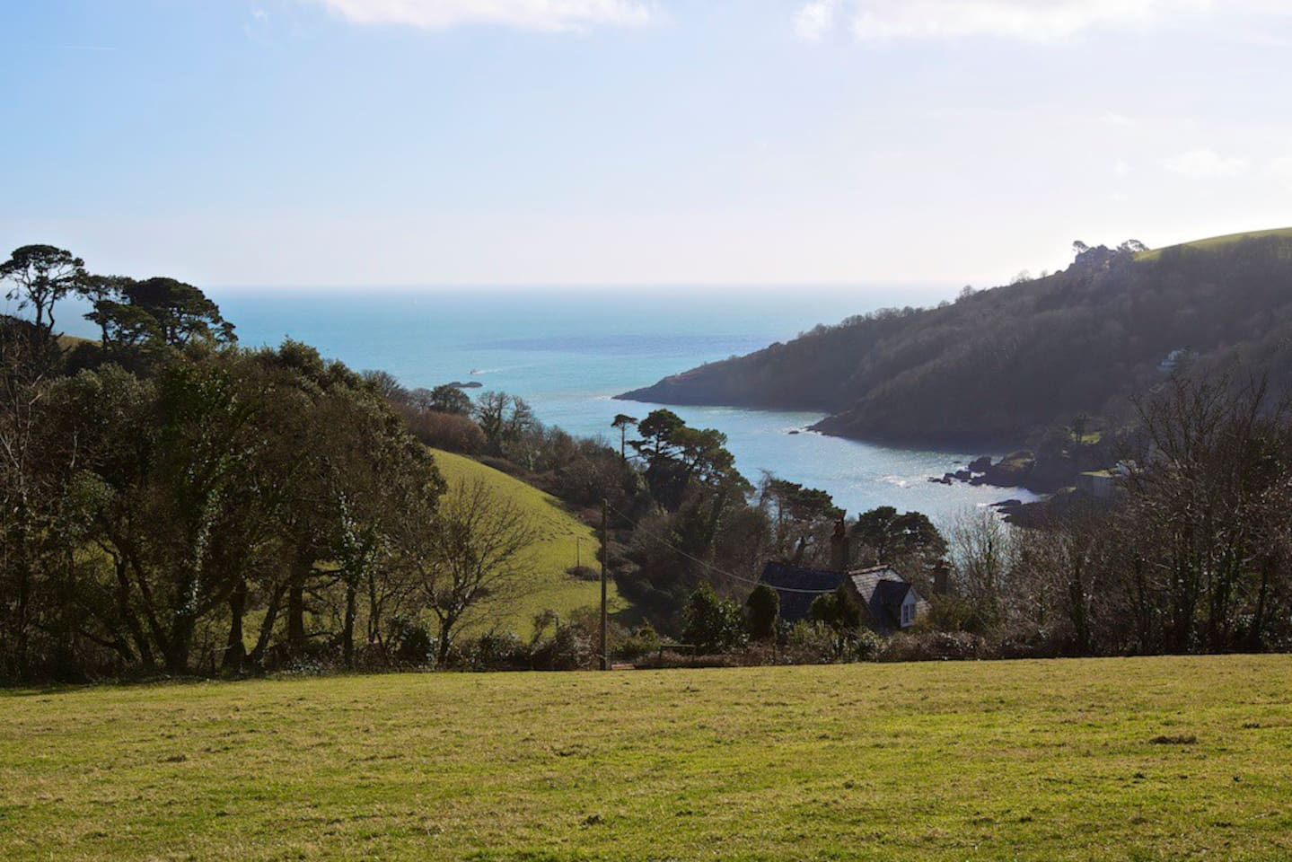 Walk or picnic on the farm with your own private and outstanding view of the River Dart.