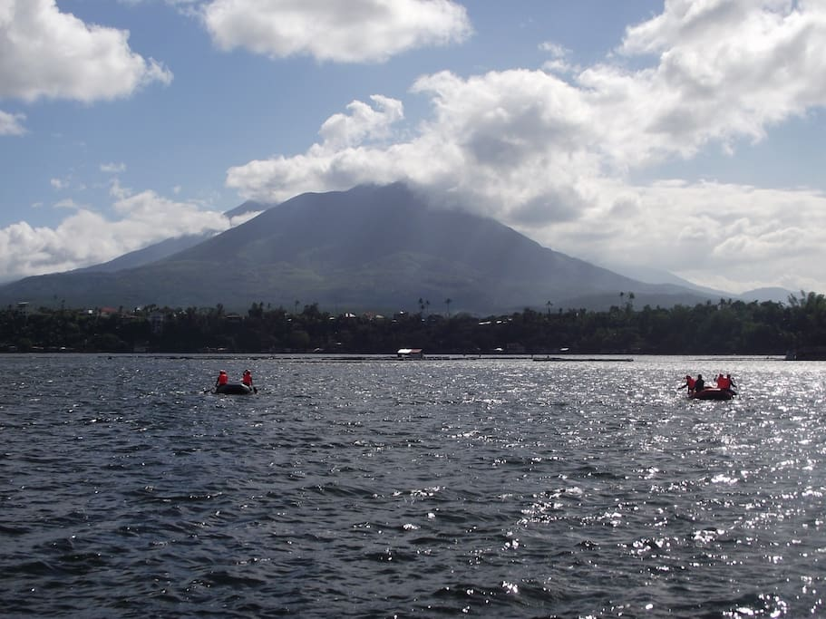 The nearby Sampaloc Lake overlooked by Mount Cristobal with it's neighbour Mount Banahaw.