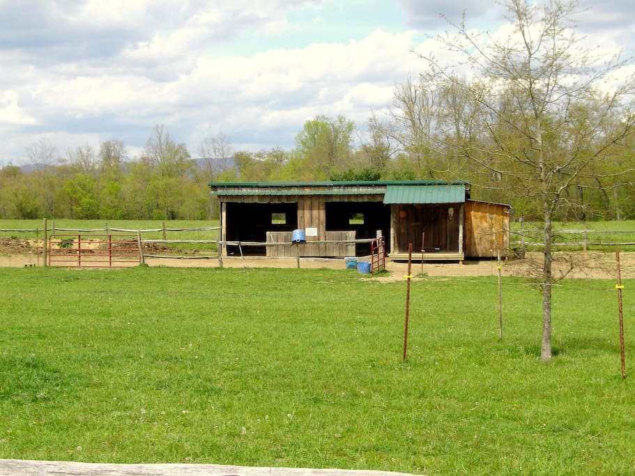 One of the horse run-ins with tack room.