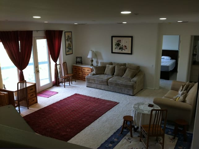 family room and adjoining deck