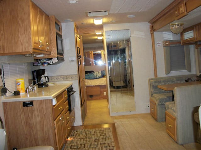 Inside the Motor Home is clean, and spacious. with everything you need to make yourself at home.