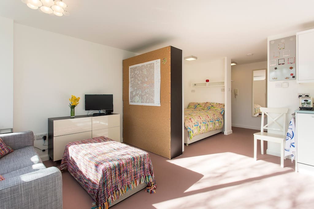 Another view of the gorgeous studio with a double bed.