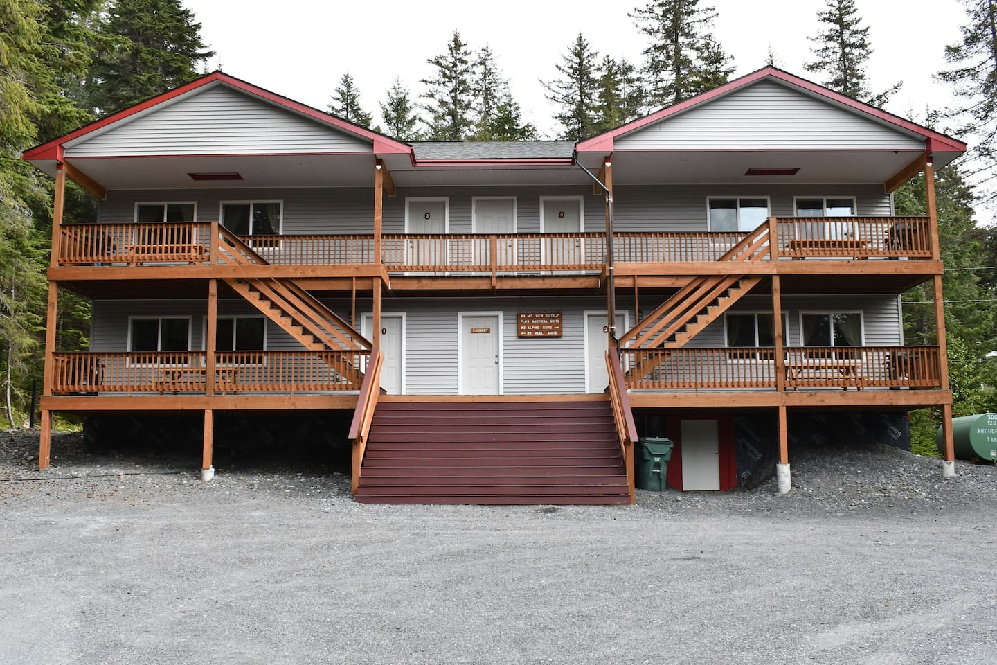 This small Lodge is located on almost one full acre of land with gorgeous mountain views from each unit while being surrounded by Alaska's natural beauty.