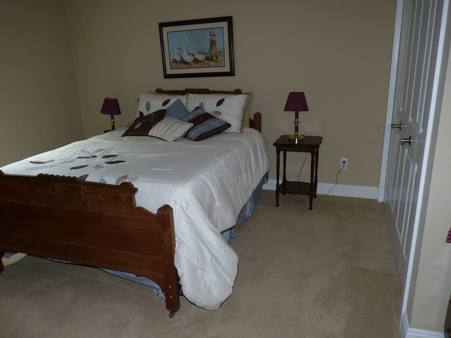Queen sized bed in private room
