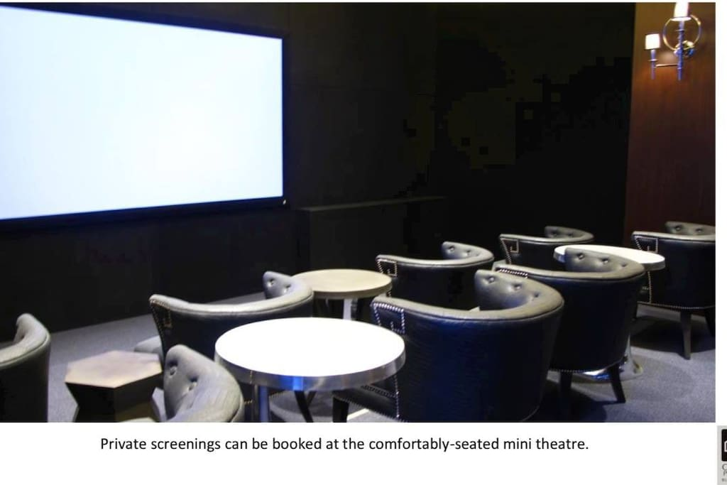 We have our own Mini-Theatre that you can reserve for free.