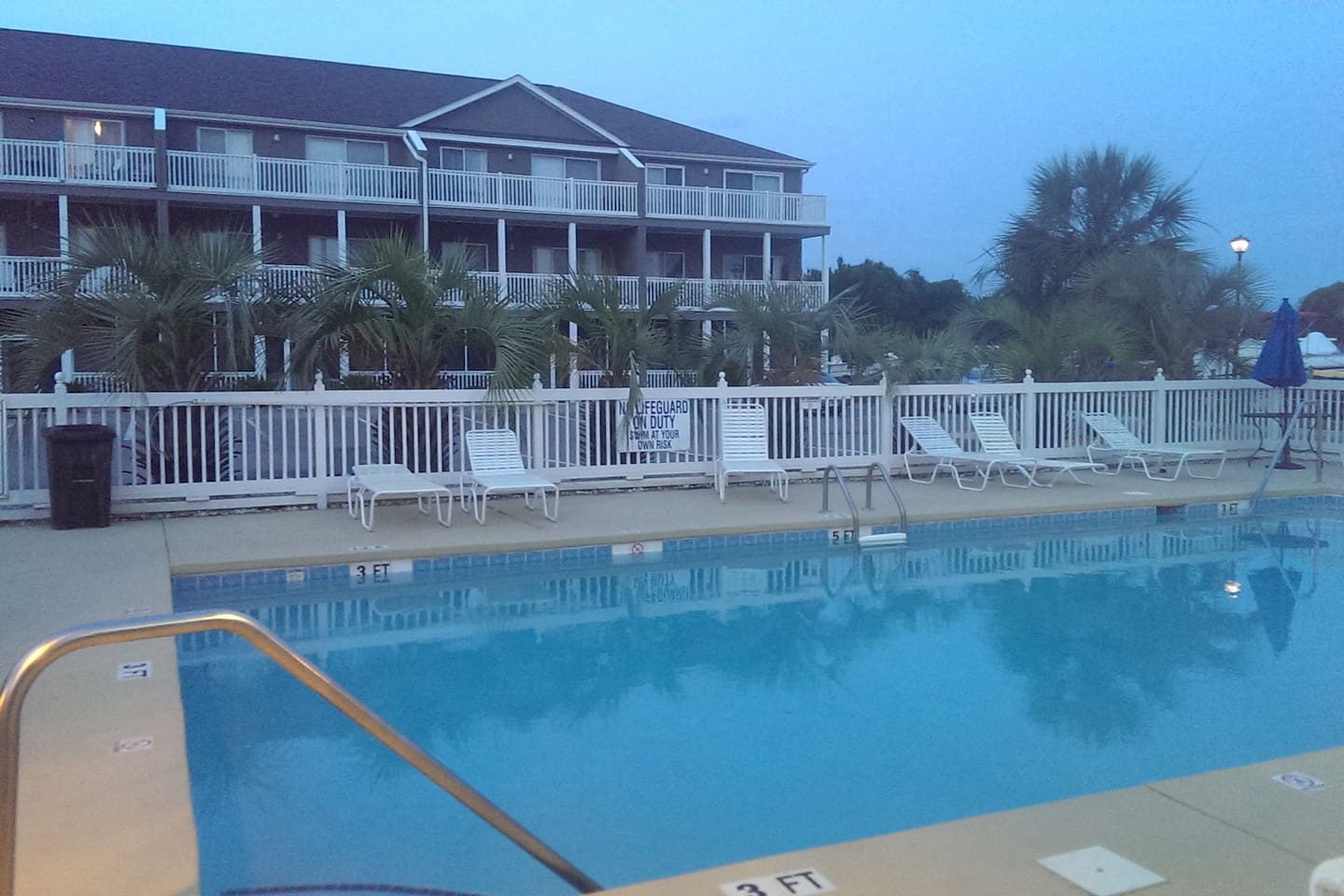 One of 2 pools. Condo is on the the 3rd floor in the background.