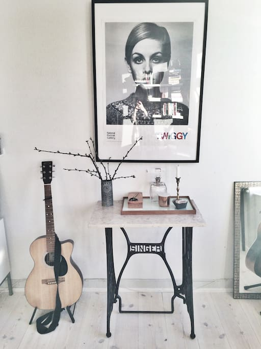 The 'art space' :) You're welcome to grab the Martin guitar and play a cheerful tune!