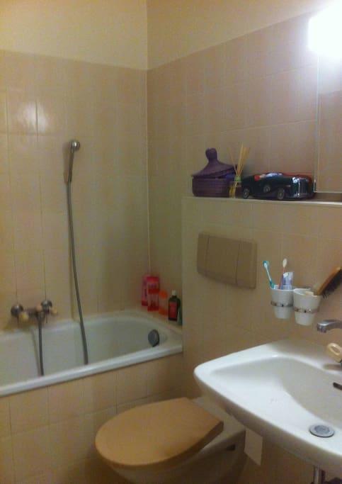 Toilette et baignoire dans la salle de bain.