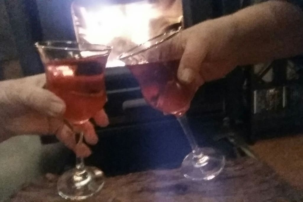 Nothing like sharing a romantic evening sharing a glass of wine.