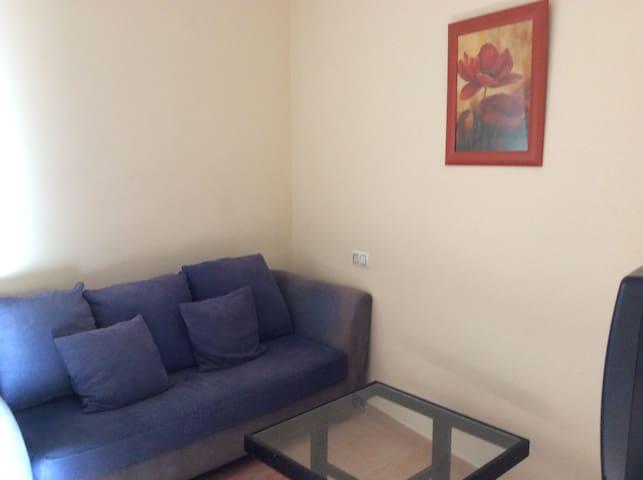 Un salon con sofa y televisión