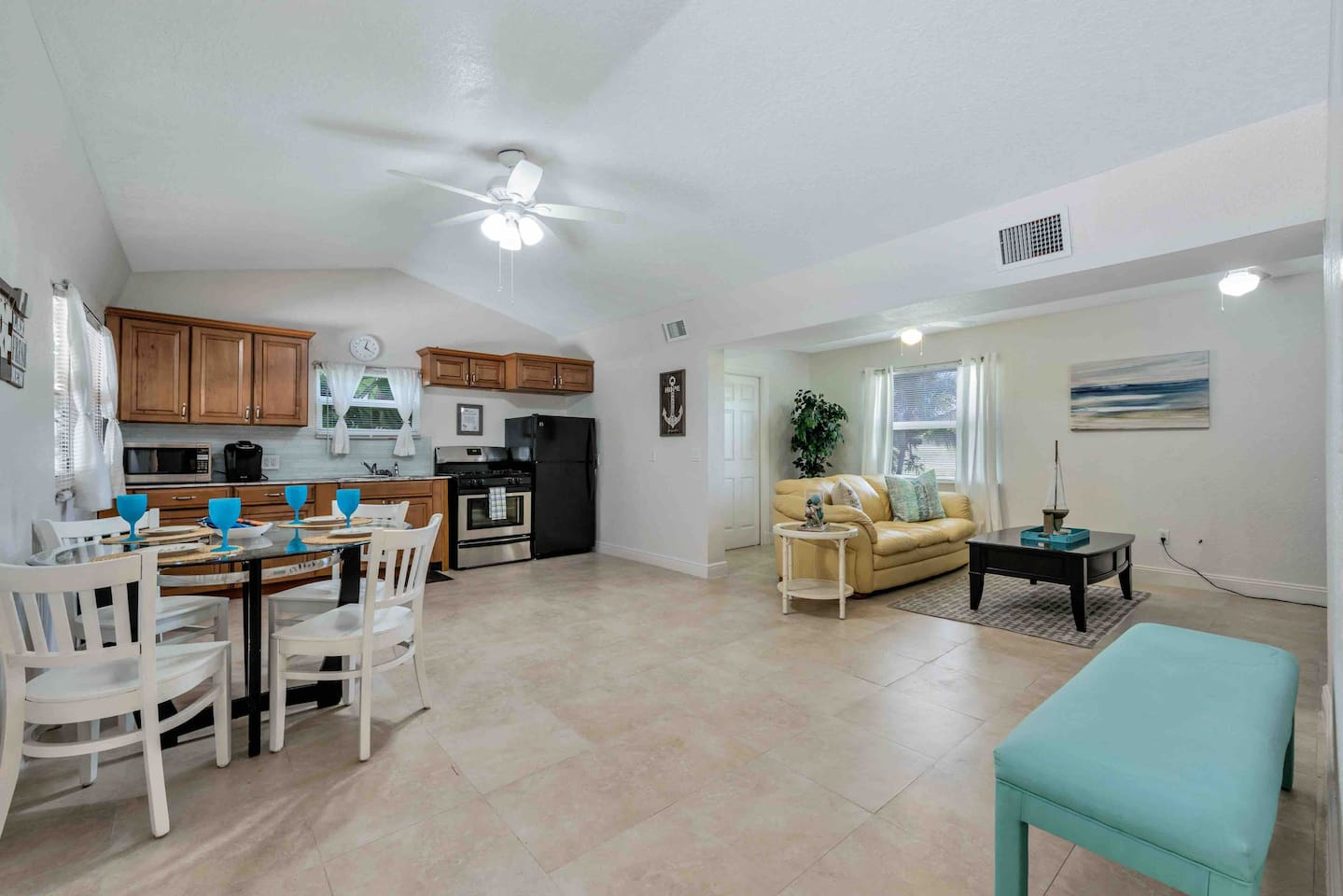 Open floor plan, separate laundry room, new appliances with gas stove, stocked kitchen,  tv but no cable so remember to bring your attachments for you phone or laptop