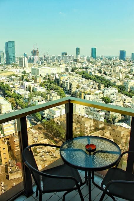 your own private balcony with amazing Urban views of  the heart of Tel Aviv