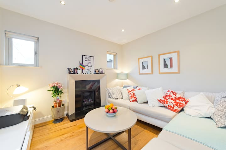 Our comfy living room with huge sofa