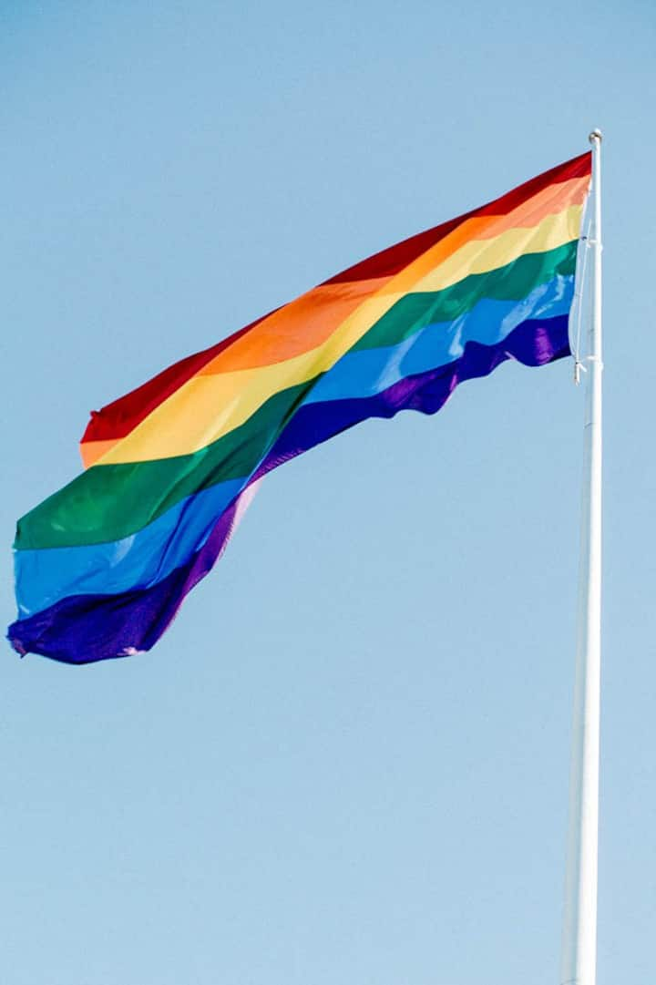 Look UP for the BIG Rainbow Flagpole!