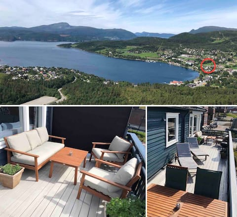 Koselig lite hus med stor terrasse ved sjøen