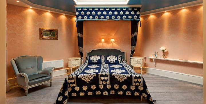 Sleeping Beauty's room in a tower with hot tub