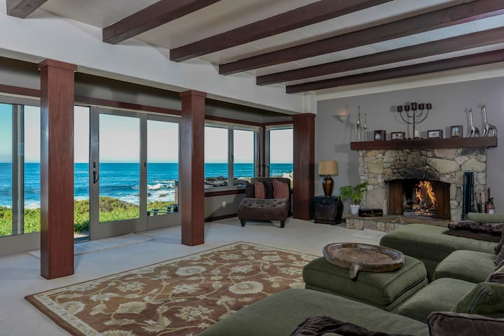 Living Room Has Wood Fireplace, Ocean Views and Sonos Music.  Photo: Ron Bird