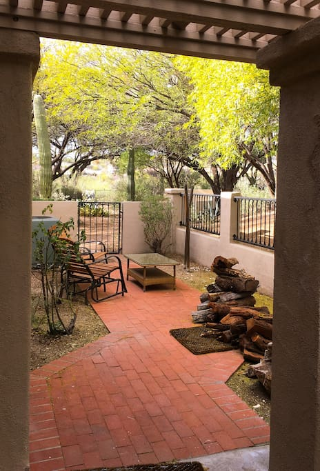 Side patio with views.