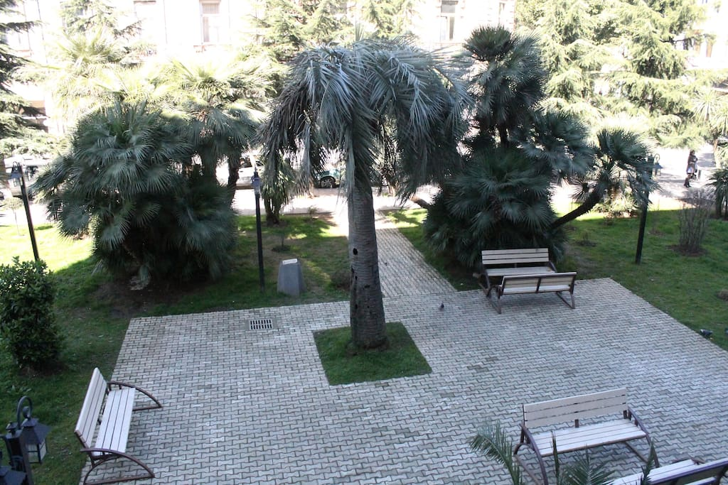 public garden in front of the house