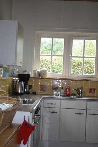 Kitchen with oven, microwave and induction cooker